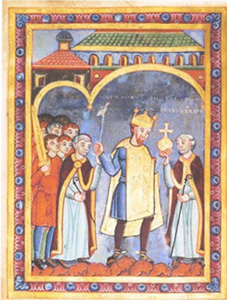 Henry III, Holy Roman Emperor (1017–1056), being presented with the orb of kingship.