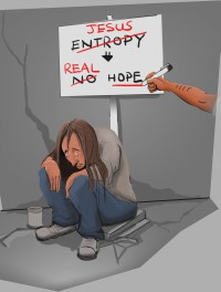 WWD page 92 Jesus and real hope vs entropy and no hope cartoon