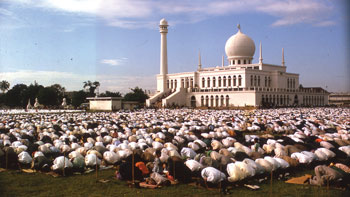 Muslims in Indonesia performing ritual prayer to celebrate the end of Ramadan or Fast Month. Muslims do not worship Jesus Christ as the Son of God, Creator or Saviour.