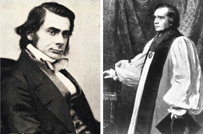Thomas Huxley and Bishop Samuel Wilberforce, the protagonists at the famous debate on the subject of evolution at the Oxford meeting of the British Association, June 30, 1860