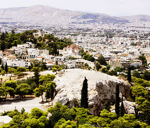 Mars Hill, as it appears today, where Paul stood and reasoned with the philosophers of Athens