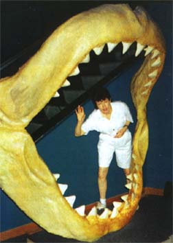 woman inside reconstructed Megalodon jaws