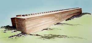 The Bible specifies Noah's Ark as 300 cubits long, 50 cubits wide and 30 cubits high, a huge, stable, seaworthy vessel.