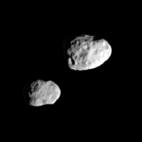 Epimetheus (left) and Janus (right), the 'dancing' moons of Saturn