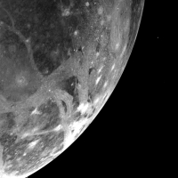 Ganymede from about 253,000 kilometres (151,800 miles) away. This particular moon turned out to still have a strong magnetic field, contrary to original expectations.