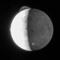 Plumes from three massive erupting volcanoes can be seen on this image of Jupiter's moon Io: Tvashtar volcano at 11 o'clock, Prometheus volcano at 9 o'clock and Masubi volcano (the bright patch towards 6 o'clock). This is a sign of heat remaining in Io's interior. Small moons like this should have cooled off long ago if they really were billions of years old.