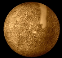 Mercury, the closest planet to the sun, taken from the Mariner 10 spacecraft. If our planet were as close to the sun, it would be far too hot for any life to exist.