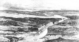 A panoramic 1872 woodcut of Niagara Gorge
