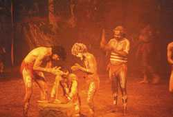Aborigines making fire