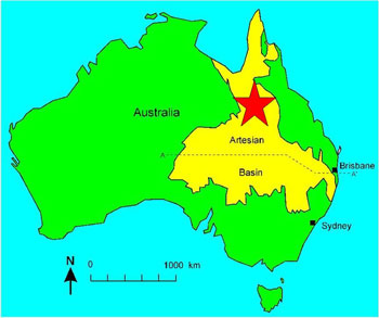 Location of Richmond, Queensland, where plesiosaur fossils were found.