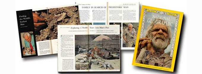 Louis Leakey was featured many times by National Geographic magazine.