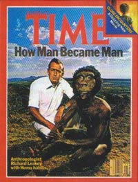 Time magazine's cover for 7 November 1977 featured Richard Leakey beside an artist's impression of the imaginary Homo habilis.