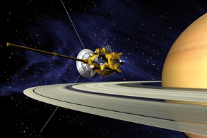 Artist's concept of the Cassini spacecraft passing Saturn's rings.