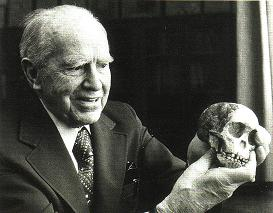 Raymond Dart holding the Taung child skull