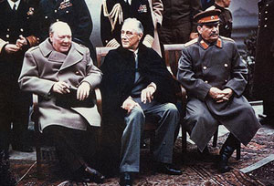 The WWII Allied leaders, Churchill, Roosevelt and Stalin, at the Yalta Conference, 1945.