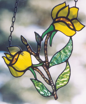 'Evening Primrose'—a sample from Gina's Northern Wildflowers Collection, one of the stained glass series that she has designed.