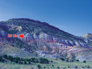 View in northeast Utah, north of Vernal. Note the 20-million-year 'gap' between the Cretaceous Cedar Mountain Formation (above) and colourful Jurassic Morrison Formation (below).
