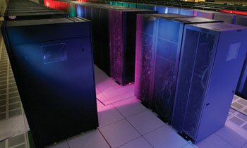 A supercomputer with Petaflop performance fills a whole room.