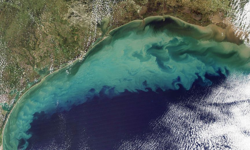 Sediment colours the Gulf of Mexico