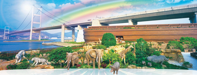 The spectacular Hong Kong Noah's Ark (rainbow added): a full-scale replica right next to the highway to one of the world's busiest airports.