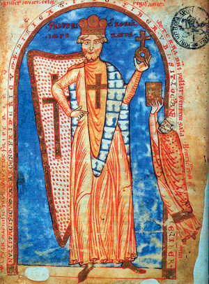 Frederick 1, Holy Roman Emperor as crusader, holding an orb, representing the earth, with a cross on top symbolizing Christ's overlordship. Miniature from a manuscript from 1188, Vatican Library.