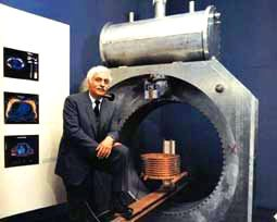 Dr Damadian with prototype MRI scanner
