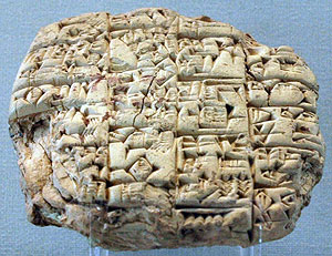 An ancient Mesopotamian cuneiform tablet