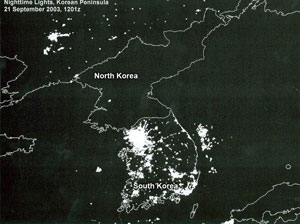Satellite image of Korean peninsula by night