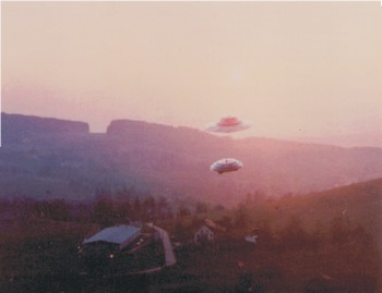 UFOs above a house