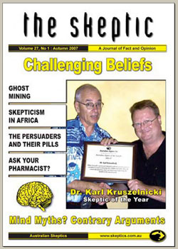 The cover of the Autumn 2007 issue of The Skeptic, showing Dr Karl Kruszelnicki receiving the Skeptic of the Year award for 2007.