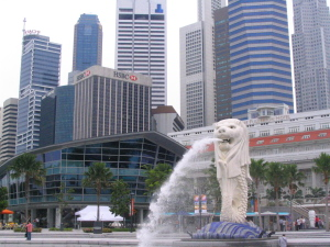 Singapore lion fountain statue