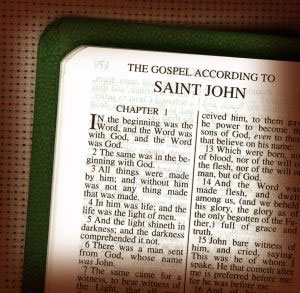 A Bible, Gospel of John, which contains Jesus' words, 'If you hold to my teaching, you are really my disciples. Then you will know the truth, and the truth will set you free.' (John 8:31–32)