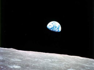 One of the first photos of the earth in space as shot by the Apollo 8 astronauts.