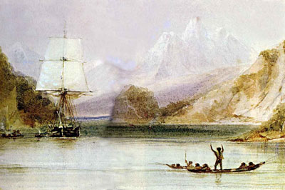 HMS Beagle being hailed by Fuegians, painted by FitzRoy's draughtsman, Conrad Martens