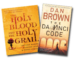 Book covers of The Da Vinci Code and Holy Blood, Holy Grail