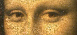 Eye detail from the Mona Lisa painted by Leonardo Da Vinci