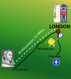 map showing Ockham to London