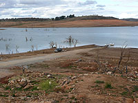 With Lake Eucumbene's water level so low, old Adaminaby's Denison St makes a great boat ramp!