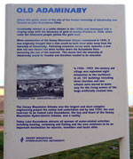 An information sign in modern-day Adaminaby giving a brief history of the relocation of the old town, erected by the Snowy Mountains Hydroelectric Authority.