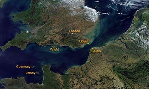 Aerial view of the English Channel