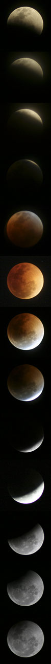 The lunar eclipse, as seen in Eastern Australia on 28 August 2007. The process took 3 hrs 33 mins.
