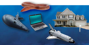 Worm, background water, space shuttle from stockxpert; house and submarine