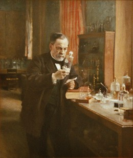Painting of Louis Pasteur in his laboratory
