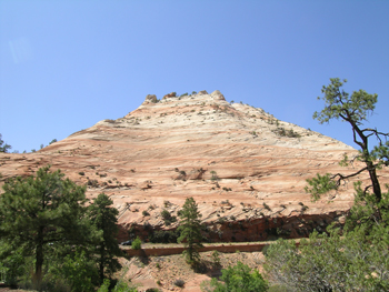 Navajo Sandstone with cross beds and multiple truncating planation surfaces near Checkerboard Mesa, Zion National park, United States.
