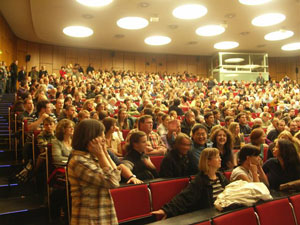 The packed lecture theatre prior to the disruption.