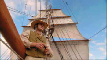 A scene from The Voyage That Shook the World showing a young Charles Darwin.