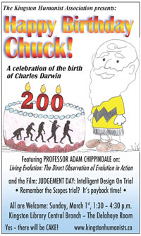 A Canadian organization promoting their own events to celebrate Charles Darwin's         birthday.