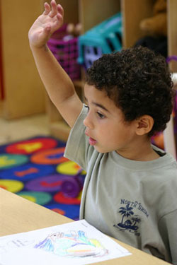 a student with their hand up to ask a question