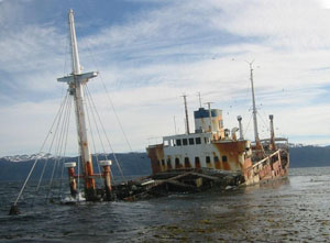 The wreck of MV Logos can still be seen in Beagle Channel