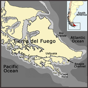 Map of Tierra Del Fuego